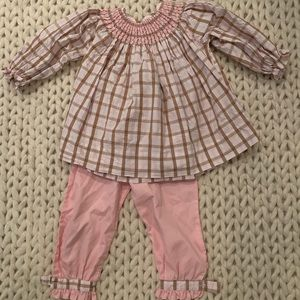 Toddler girls smocked top and pants